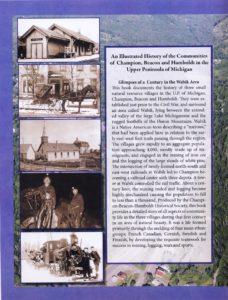 Back cover of the book with historical images and introductory text.